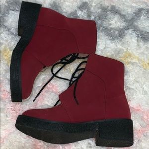 Free People Red and Black Boots